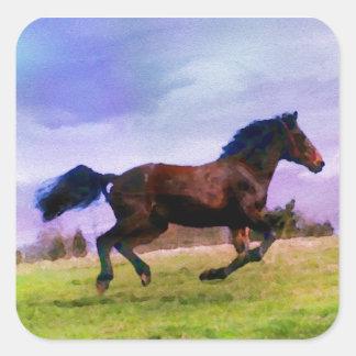 Sticker Carré Cavalier occidental courant de poulain de poney de