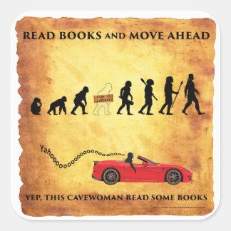 Sticker Carré Cavewoman futés : Lisez les livres et déplacez en