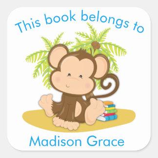 Sticker Carré Ce livre appartient à l'ex-libris mignon de singe