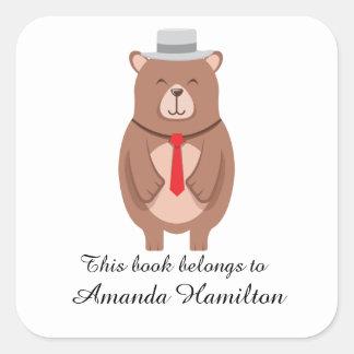 Sticker Carré Ce livre appartient à l'ours élégant mignon