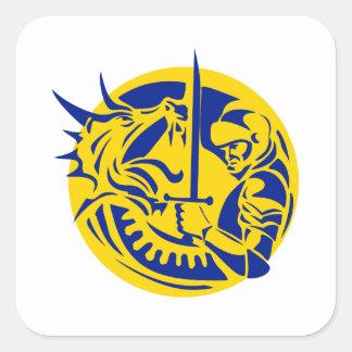 Sticker Carré Cercle de combat de dragon de chevalier rétro