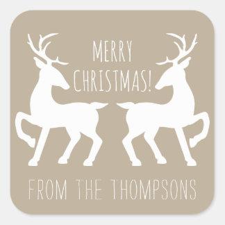 Sticker Carré Cerfs communs blancs sur le beige et le Noël nommé