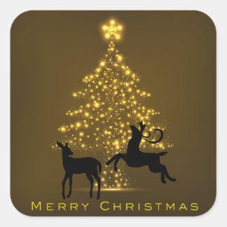 Sticker Carré Cerfs communs de silhouette de Joyeux Noël et