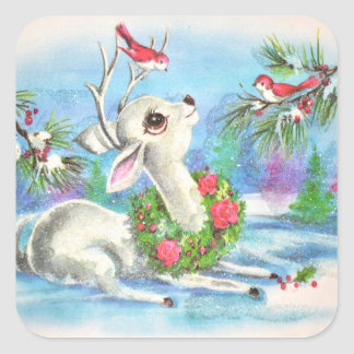 Sticker Carré Cerfs communs vintages et oiseaux de Noël