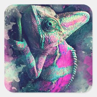 Sticker Carré #chameleon de caméléon