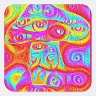 Sticker Carré champignon psychédélique coloré trippy