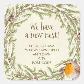 Sticker Carré changement d'adresse l'hiver de Noël de merle