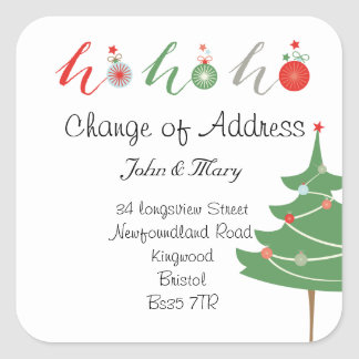 Sticker Carré Changement d'adresse Noël d'autocollant