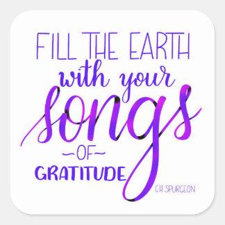 Sticker Carré Chansons de gratitude, C.H. Spurgeon Quote,