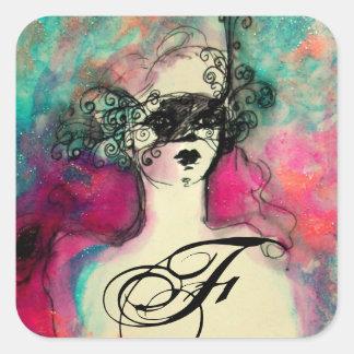 Sticker Carré CHARMEZ /Lady avec le vert de Teal de rose de