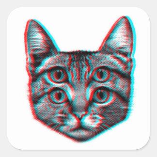 Sticker Carré Chat 3d, 3d chat, chat noir et blanc