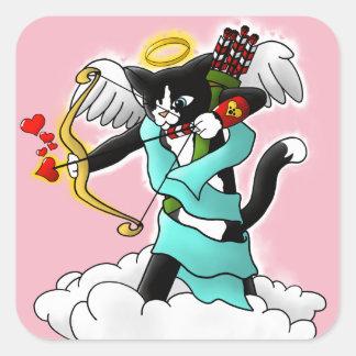 Sticker Carré Chat de cupidon de smoking de Saint-Valentin