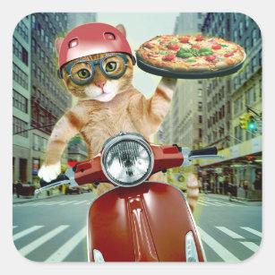 Sticker Carré chat de pizza - chat - la livraison de pizza