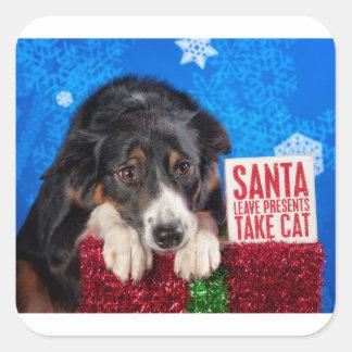 Sticker Carré Chat de prise de Père Noël