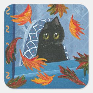 Sticker Carré Chat noir Creationarts d'automne drôle