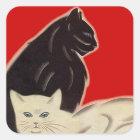 Sticker Carré Chats blancs de noir de style d'art déco