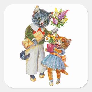 Sticker Carré Chats d'Arthur Thiele soutenant des cadeaux