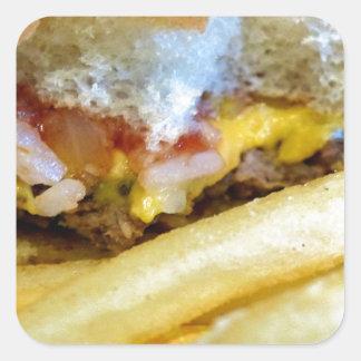 Sticker Carré Cheeseburger et fritures