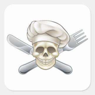 Sticker Carré Chef de couteau et de pirate de fourchette
