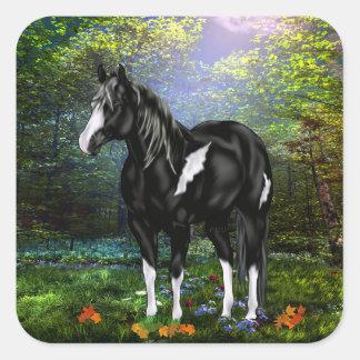 Sticker Carré Cheval noir et blanc de peinture d'Overo