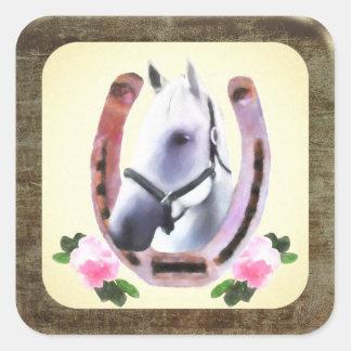 Sticker Carré Cheval peint dans le cadre de cuir de Faux