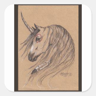 Sticker Carré Cheval sauvage de mustang de Brown de plume