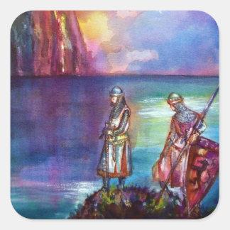 Sticker Carré Chevaliers médiévaux de PENDRAGON, coucher du