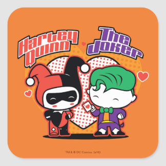 Sticker Carré Chibi Harley Quinn et coeurs de joker de Chibi