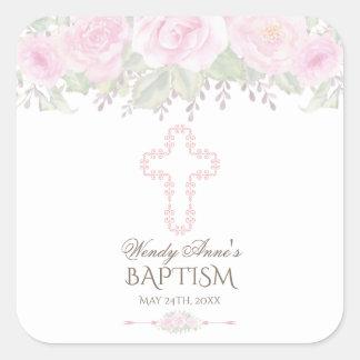 Sticker Carré Chic rougissent le baptême floral de fille de
