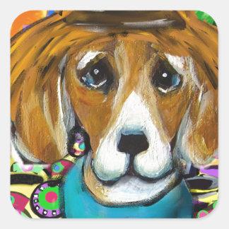 Sticker Carré Chien de beagle