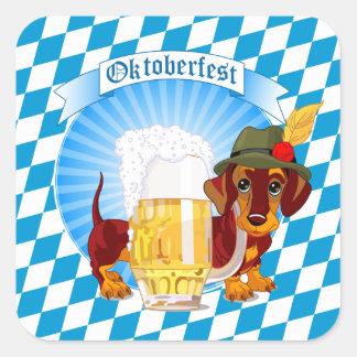 Sticker Carré Chien de bière d'Oktoberfest