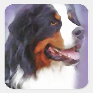 Sticker Carré chien de montagne bernese