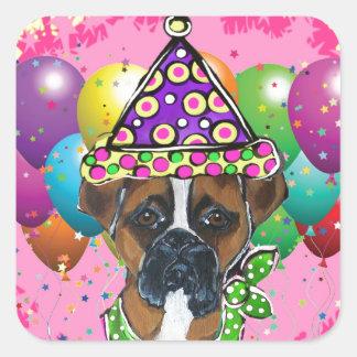 Sticker Carré Chien de partie de chien de boxeur