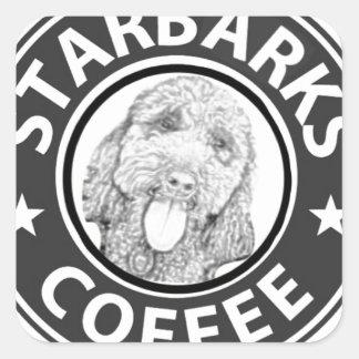 Sticker Carré chien Starbucks