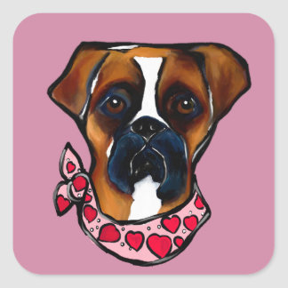 Sticker Carré Chien Valentine de boxeur