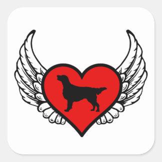 Sticker Carré Chiens d'amour de coeur à ailes par chien d'arrêt