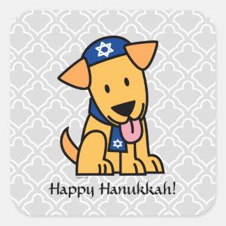 Sticker Carré Chiot juif de Hanoukka labrador retriever