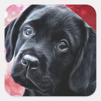 Sticker Carré Chiot noir de Labrador Valentine
