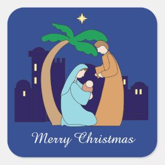 Sticker Carré Chrétien saint de Noël de nativité de famille