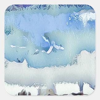 Sticker Carré Ciel coloré d'horizon d'abrégé sur bleu d'hiver