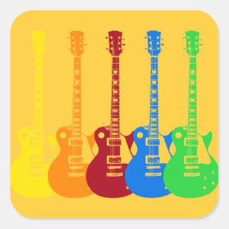 Sticker Carré Cinq guitares électriques