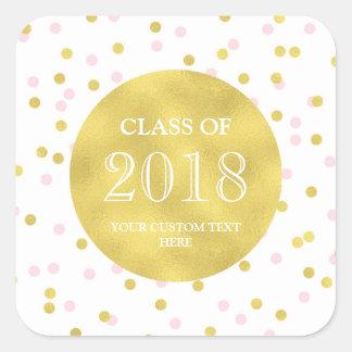 Sticker Carré Classe rose d'obtention du diplôme de confettis