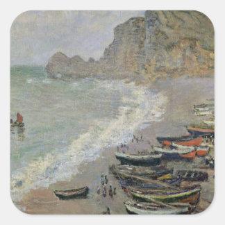 Sticker Carré Claude Monet | Etretat, plage et d'Amont de Porte