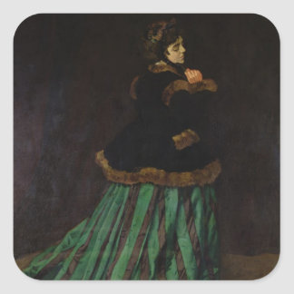 Sticker Carré Claude Monet | la femme dans la robe verte, 1866