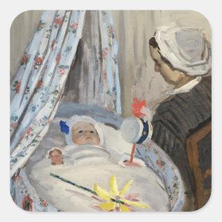 Sticker Carré Claude Monet | le berceau, Camille avec le fils