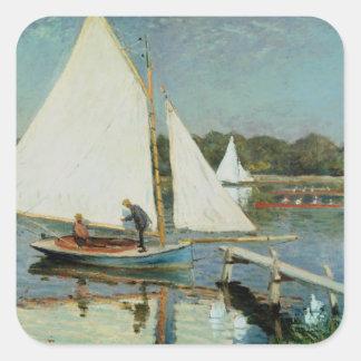 Sticker Carré Claude Monet | naviguant à Argenteuil, c.1874