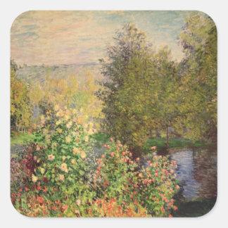 Sticker Carré Claude Monet   un coin du jardin chez Montgeron