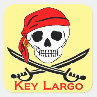 Sticker Carré Clé Largo Key West de crâne de pirate