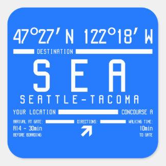Sticker Carré Code d'aéroport de Seattle-Tacoma
