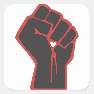 Sticker Carré Coeur augmenté de révolutionnaire de poing